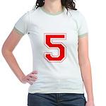 Varsity Font Number 5 Red Jr. Ringer T-Shirt