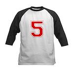 Varsity Font Number 5 Red Kids Baseball Jersey