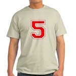 Varsity Font Number 5 Red Light T-Shirt