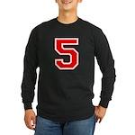Varsity Font Number 5 Red Long Sleeve Dark T-Shirt