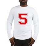 Varsity Font Number 5 Red Long Sleeve T-Shirt