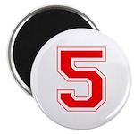 Varsity Font Number 5 Red Magnet
