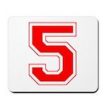 Varsity Font Number 5 Red Mousepad