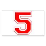 Varsity Font Number 5 Red Rectangle Sticker 10 pk