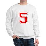 Varsity Font Number 5 Red Sweatshirt