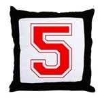 Varsity Font Number 5 Red Throw Pillow