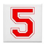 Varsity Font Number 5 Red Tile Coaster