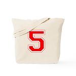 Varsity Font Number 5 Red Tote Bag