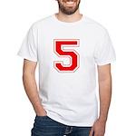 Varsity Font Number 5 Red White T-Shirt