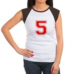 Varsity Font Number 5 Red Women's Cap Sleeve T-Shi