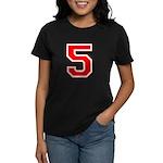 Varsity Font Number 5 Red Women's Dark T-Shirt