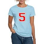Varsity Font Number 5 Red Women's Light T-Shirt