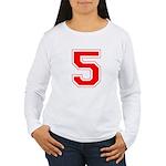 Varsity Font Number 5 Red Women's Long Sleeve T-Sh