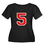 Varsity Font Number 5 Red Women's Plus Size Scoop