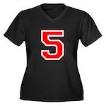 Varsity Font Number 5 Red Women's Plus Size V-Neck