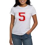 Varsity Font Number 5 Red Women's T-Shirt
