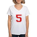 Varsity Font Number 5 Red Women's V-Neck T-Shirt