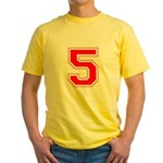 Varsity Font Number 5 Red Yellow T-Shirt