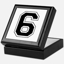 Varsity Font Number 6 Black Keepsake Box