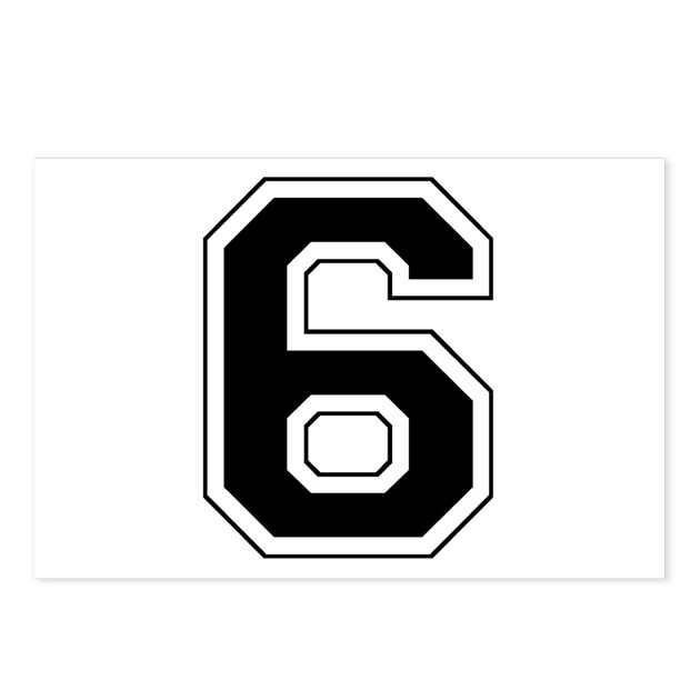 Varsity Font Number 6 Black Postcards (Package of by