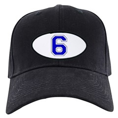 Varsity Font Number 6 Blue Baseball Hat