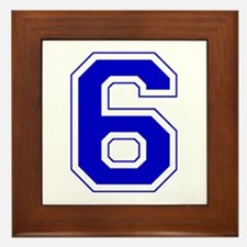 Varsity Font Number 6 Blue Framed Tile