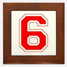 Varsity Font Number 6 Red Framed Tile