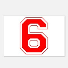 Varsity Font Number 6 Red Postcards (Package of 8)