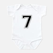 Varsity Font Number 7 Black Infant Bodysuit