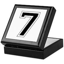 Varsity Font Number 7 Black Keepsake Box