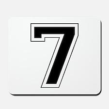 Varsity Font Number 7 Black Mousepad