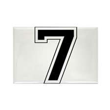 Varsity Font Number 7 Black Rectangle Magnet