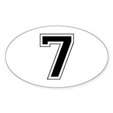 Varsity Font Number 7 Black Oval Decal