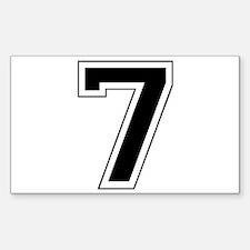 Varsity Font Number 7 Black Rectangle Decal