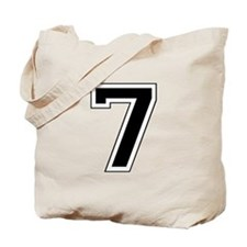 Varsity Font Number 7 Black Tote Bag
