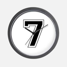 Varsity Font Number 7 Black Wall Clock