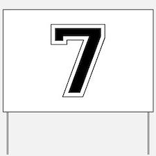 Varsity Font Number 7 Black Yard Sign