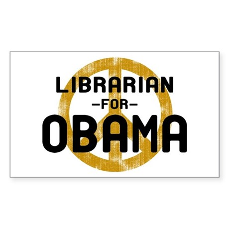Librarian for Obama Rectangle Sticker