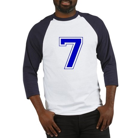 Varsity Font Number 7 Blue Baseball Jersey