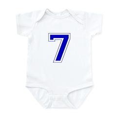 Varsity Font Number 7 Blue Infant Bodysuit