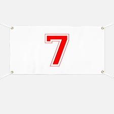 Varsity Font Number 7 Red Banner