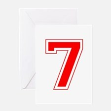 Varsity Font Number 7 Red Greeting Card