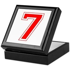 Varsity Font Number 7 Red Keepsake Box