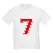 Varsity Font Number 7 Red T-Shirt