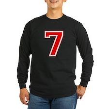 Varsity Font Number 7 Red T
