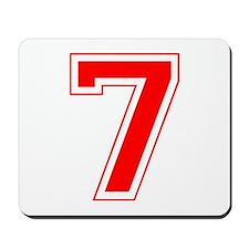 Varsity Font Number 7 Red Mousepad