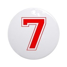 Varsity Font Number 7 Red Ornament (Round)