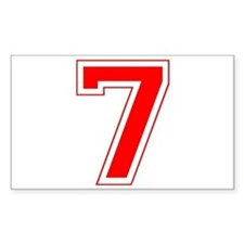 Varsity Font Number 7 Red Rectangle Decal