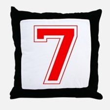 Varsity Font Number 7 Red Throw Pillow