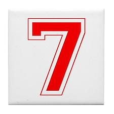 Varsity Font Number 7 Red Tile Coaster